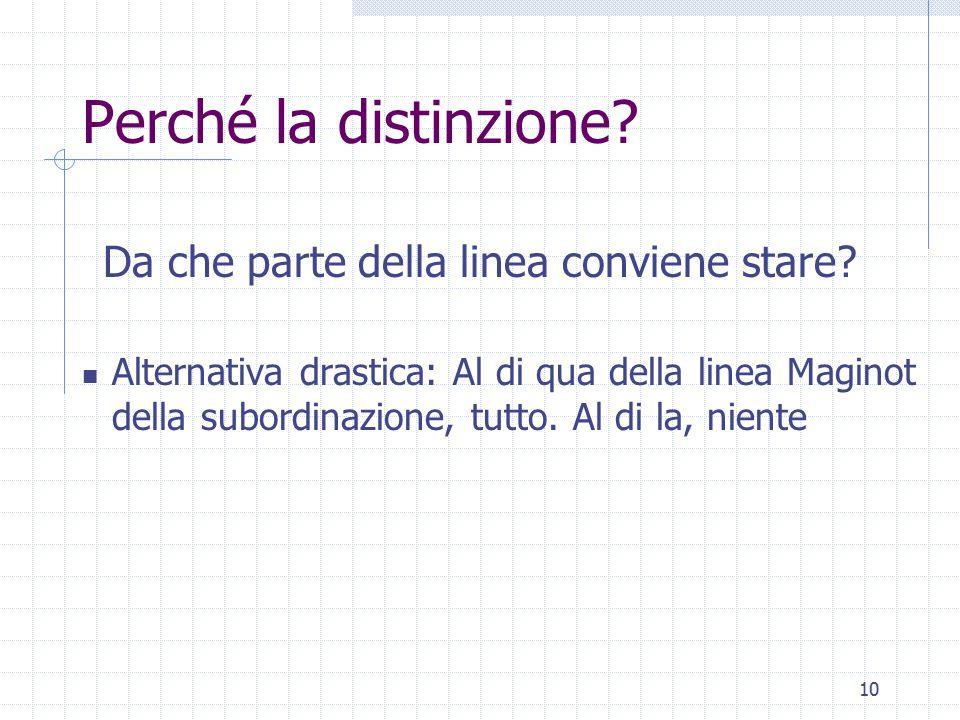 10 Perché la distinzione? Da che parte della linea conviene stare? Alternativa drastica: Al di qua della linea Maginot della subordinazione, tutto. Al