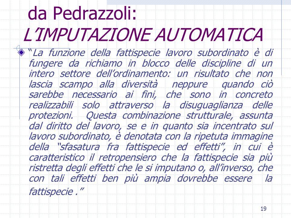 """19 da Pedrazzoli: L'IMPUTAZIONE AUTOMATICA """"La funzione della fattispecie lavoro subordinato è di fungere da richiamo in blocco delle discipline di un"""