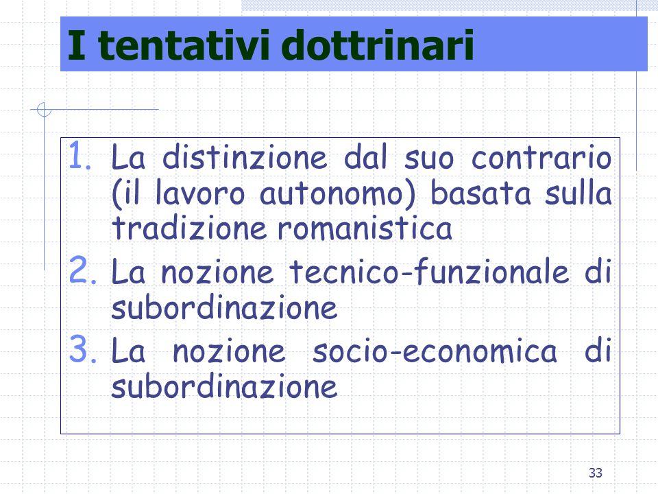 33 I tentativi dottrinari 1. La distinzione dal suo contrario (il lavoro autonomo) basata sulla tradizione romanistica 2. La nozione tecnico-funzional