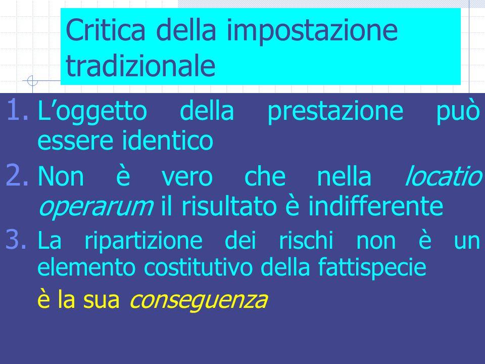 35 Critica della impostazione tradizionale 1. L'oggetto della prestazione può essere identico 2.