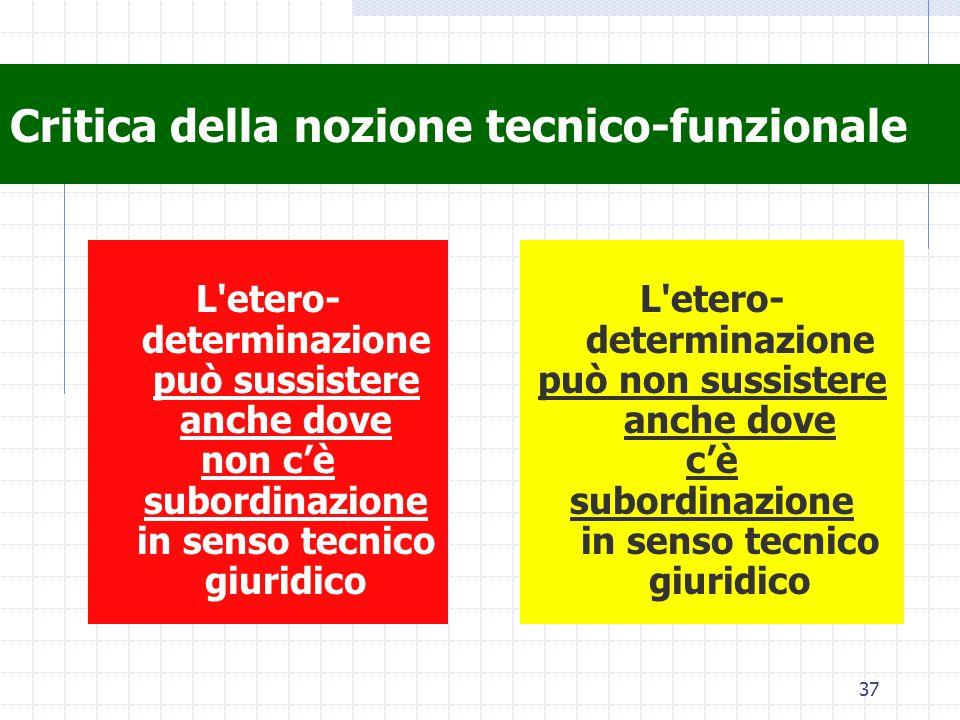37 Critica della nozione tecnico-funzionale L'etero- determinazione può sussistere anche dove non c'è subordinazione in senso tecnico giuridico L'eter