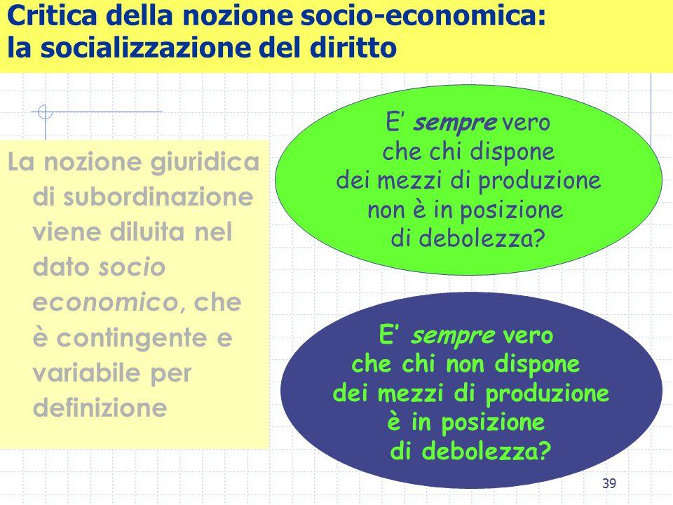 39 Critica della nozione socio-economica: la socializzazione del diritto La nozione giuridica di subordinazione viene diluita nel dato socio economico