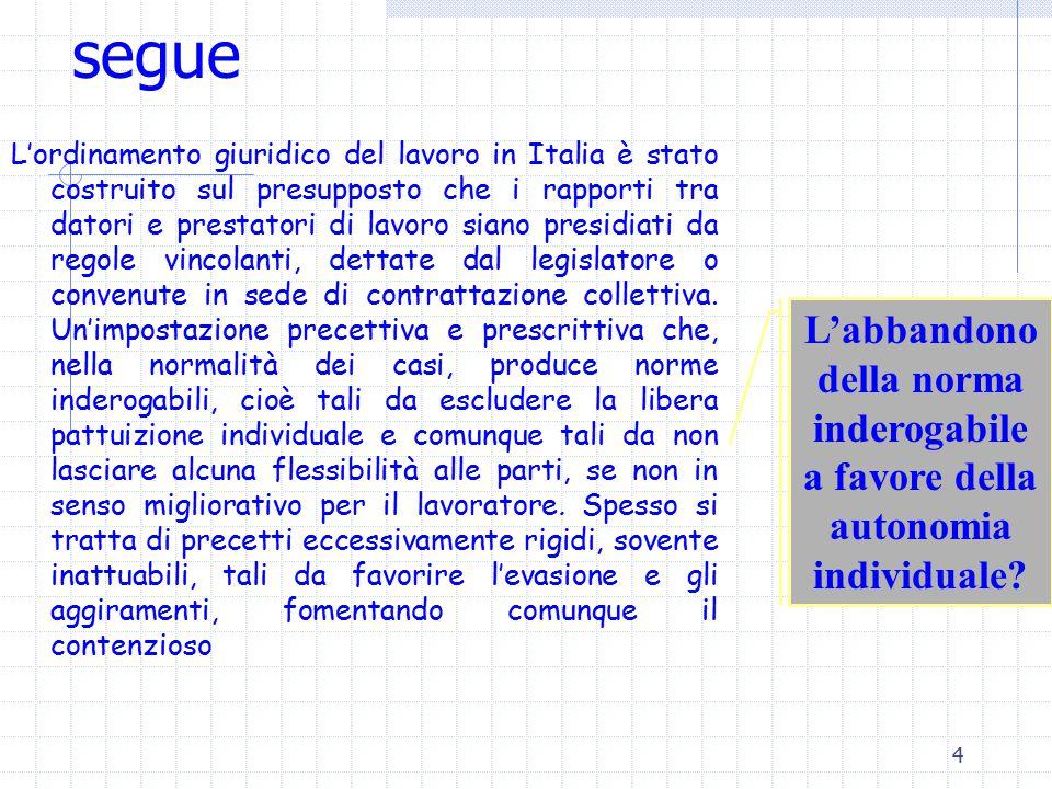 4 segue L'ordinamento giuridico del lavoro in Italia è stato costruito sul presupposto che i rapporti tra datori e prestatori di lavoro siano presidiati da regole vincolanti, dettate dal legislatore o convenute in sede di contrattazione collettiva.