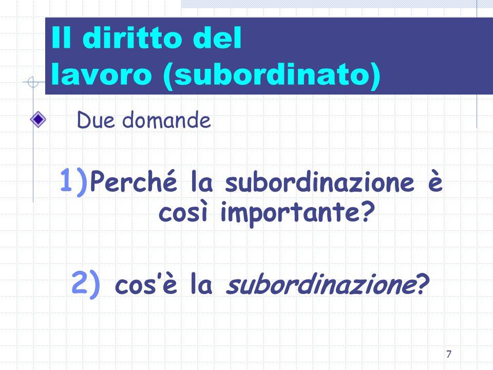 7 Il diritto del lavoro (subordinato) Due domande 1) Perché la subordinazione è così importante? 2) cos'è la subordinazione?