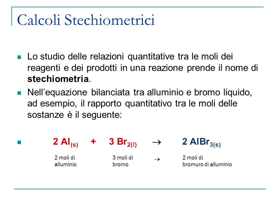 Calcoli Stechiometrici Lo studio delle relazioni quantitative tra le moli dei reagenti e dei prodotti in una reazione prende il nome di stechiometria.