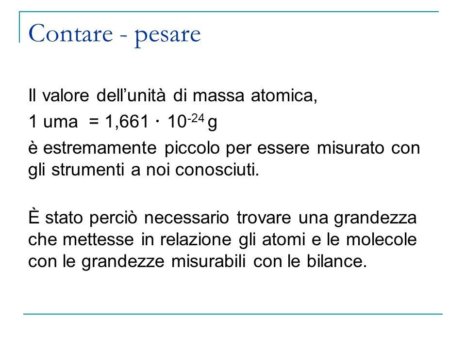 Contare - pesare Il valore dell'unità di massa atomica, 1 uma = 1,661  10 -24 g è estremamente piccolo per essere misurato con gli strumenti a noi conosciuti.