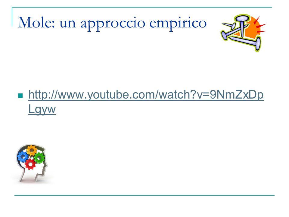 Mole: un approccio empirico http://www.youtube.com/watch?v=9NmZxDp Lgyw http://www.youtube.com/watch?v=9NmZxDp Lgyw