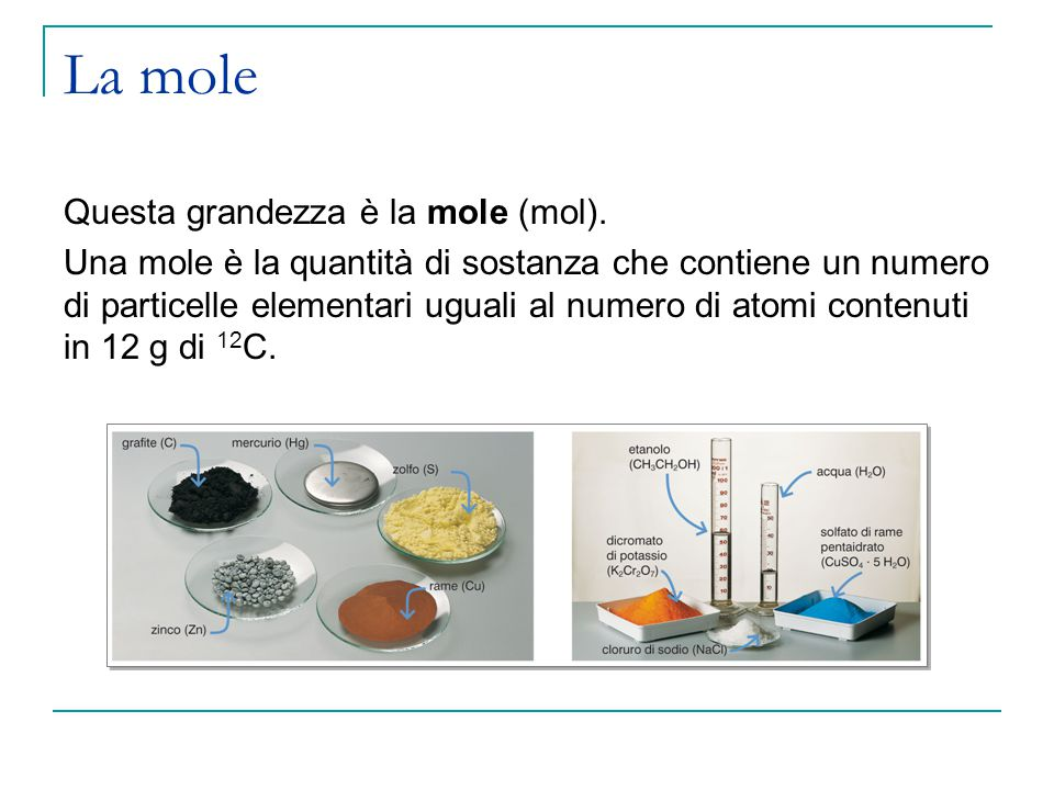 La mole Il numero di entità chimiche contenute in una mole è noto come numero o costante di Avogadro ed è uguale a: 6,02  10 23 particelle/mol Una mole di sostanza contiene sempre 6,02  10 23 particelle (atomi, molecole o ioni).