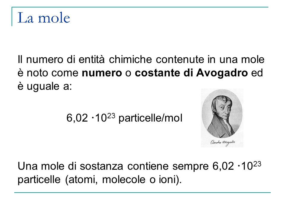 Esercizi Determinare il numero di molecole contenute in 15,4 grammi di anidride carbonica (CO 2 ).