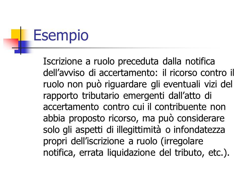Esempio Iscrizione a ruolo preceduta dalla notifica dell'avviso di accertamento: il ricorso contro il ruolo non può riguardare gli eventuali vizi del