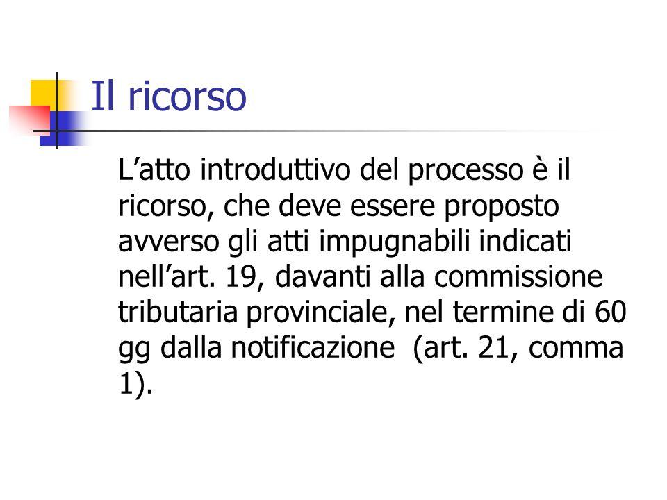 Il ricorso L'atto introduttivo del processo è il ricorso, che deve essere proposto avverso gli atti impugnabili indicati nell'art. 19, davanti alla co