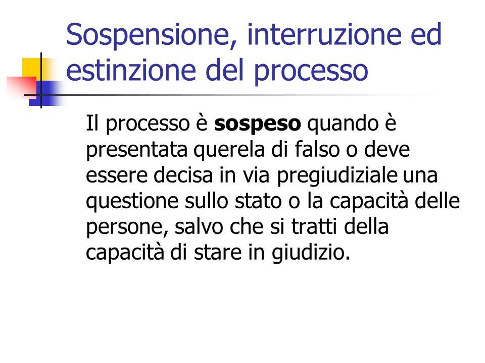 Sospensione, interruzione ed estinzione del processo Il processo è sospeso quando è presentata querela di falso o deve essere decisa in via pregiudizi