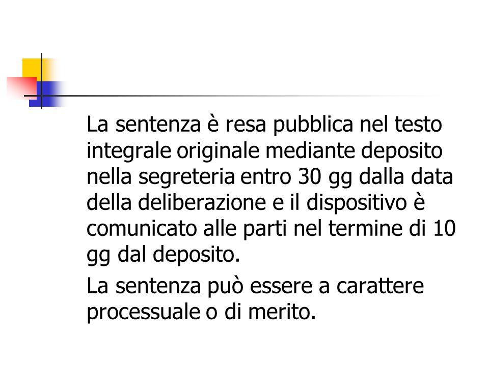 La sentenza è resa pubblica nel testo integrale originale mediante deposito nella segreteria entro 30 gg dalla data della deliberazione e il dispositi