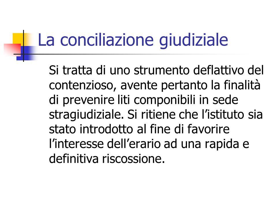 La conciliazione giudiziale Si tratta di uno strumento deflattivo del contenzioso, avente pertanto la finalità di prevenire liti componibili in sede s