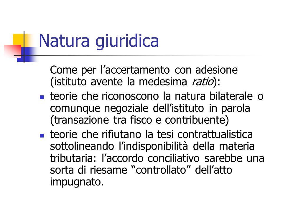 Natura giuridica Come per l'accertamento con adesione (istituto avente la medesima ratio): teorie che riconoscono la natura bilaterale o comunque nego