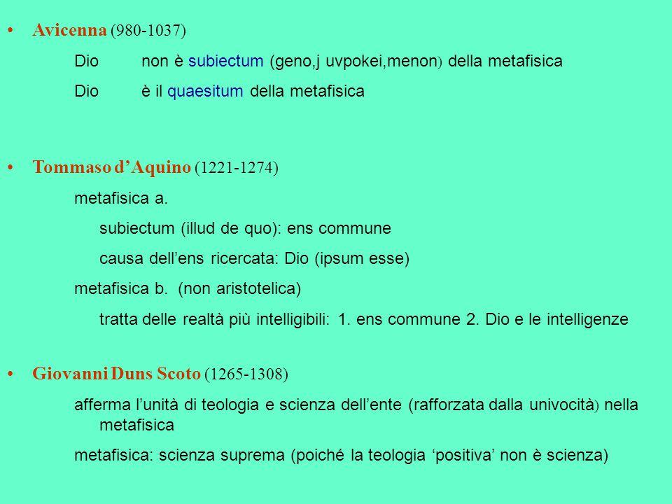 Avicenna (980-1037) Dio non è subiectum (geno,j uvpokei,menon ) della metafisica Dioè il quaesitum della metafisica Tommaso d'Aquino (1221-1274) metaf