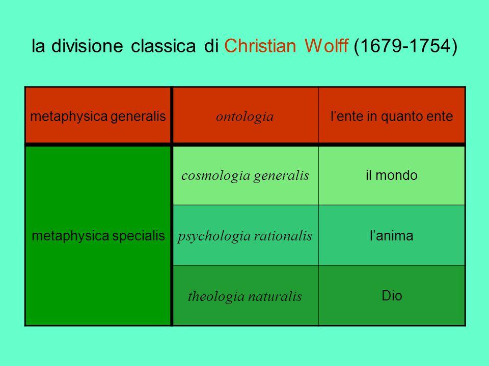 la divisione classica di Christian Wolff (1679-1754) metaphysica generalis ontologia l'ente in quanto ente metaphysica specialis cosmologia generalis