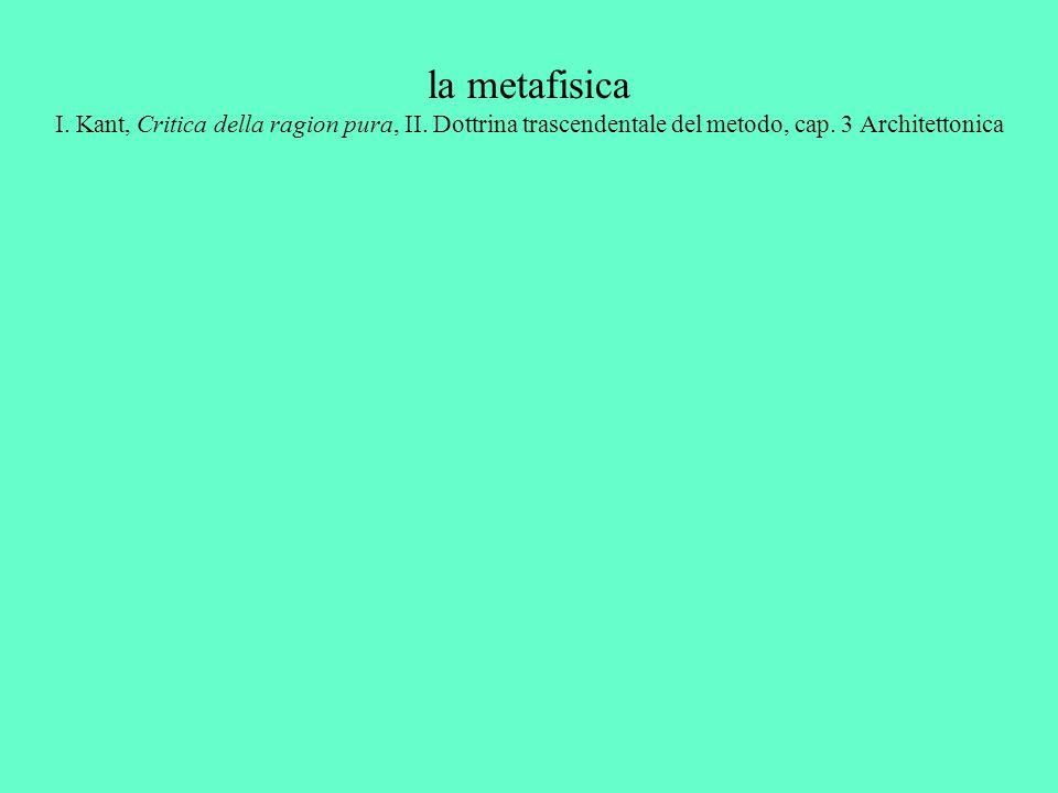 la metafisica I. Kant, Critica della ragion pura, II. Dottrina trascendentale del metodo, cap. 3 Architettonica