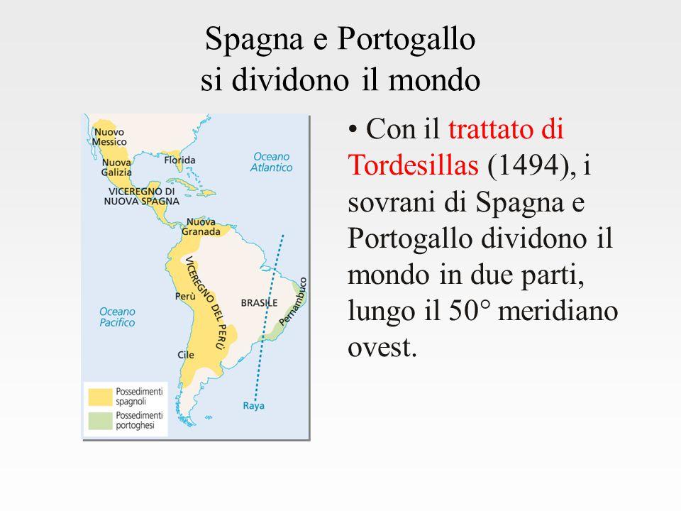 Spagna e Portogallo si dividono il mondo Con il trattato di Tordesillas (1494), i sovrani di Spagna e Portogallo dividono il mondo in due parti, lungo il 50° meridiano ovest.