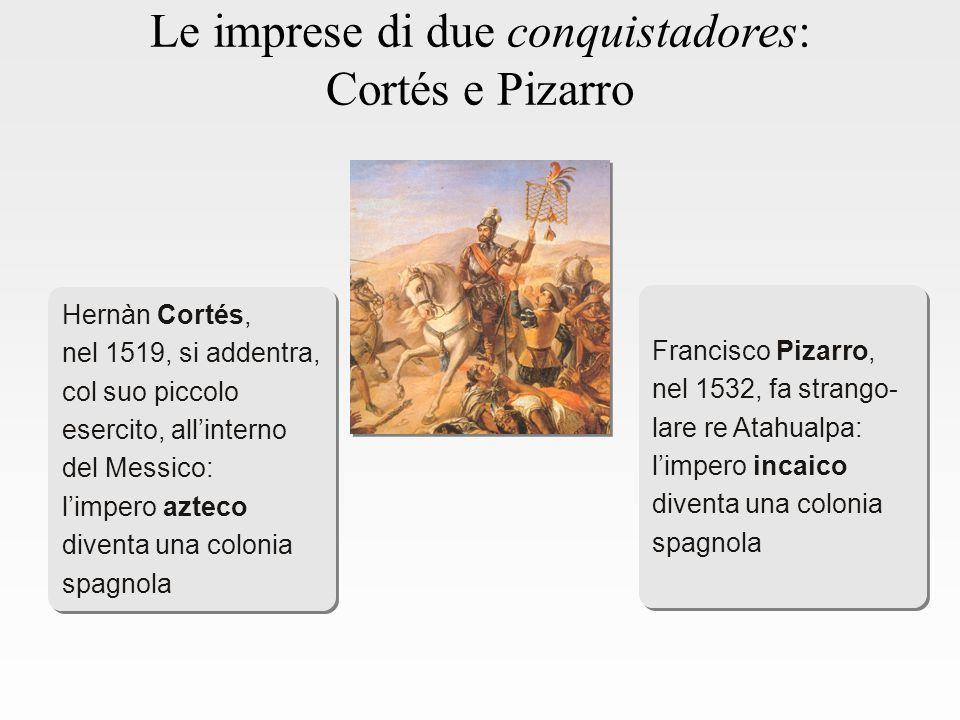 Le imprese di due conquistadores: Cortés e Pizarro Hernàn Cortés, nel 1519, si addentra, col suo piccolo esercito, all'interno del Messico: l'impero azteco diventa una colonia spagnola Hernàn Cortés, nel 1519, si addentra, col suo piccolo esercito, all'interno del Messico: l'impero azteco diventa una colonia spagnola Francisco Pizarro, nel 1532, fa strango- lare re Atahualpa: l'impero incaico diventa una colonia spagnola Francisco Pizarro, nel 1532, fa strango- lare re Atahualpa: l'impero incaico diventa una colonia spagnola