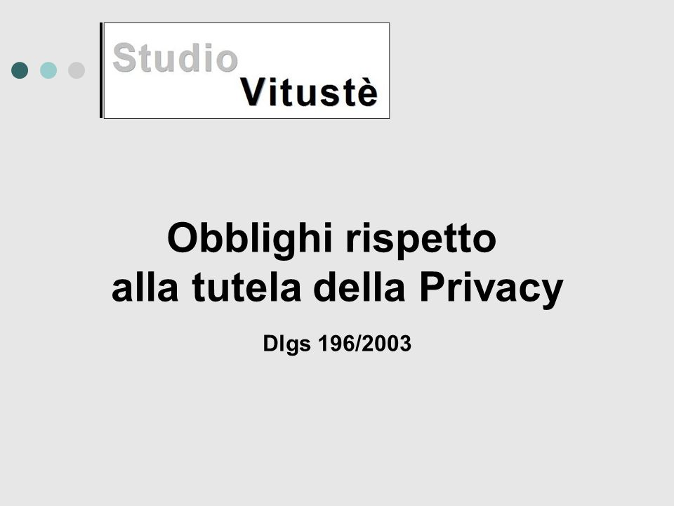 Obblighi rispetto alla tutela della Privacy Dlgs 196/2003