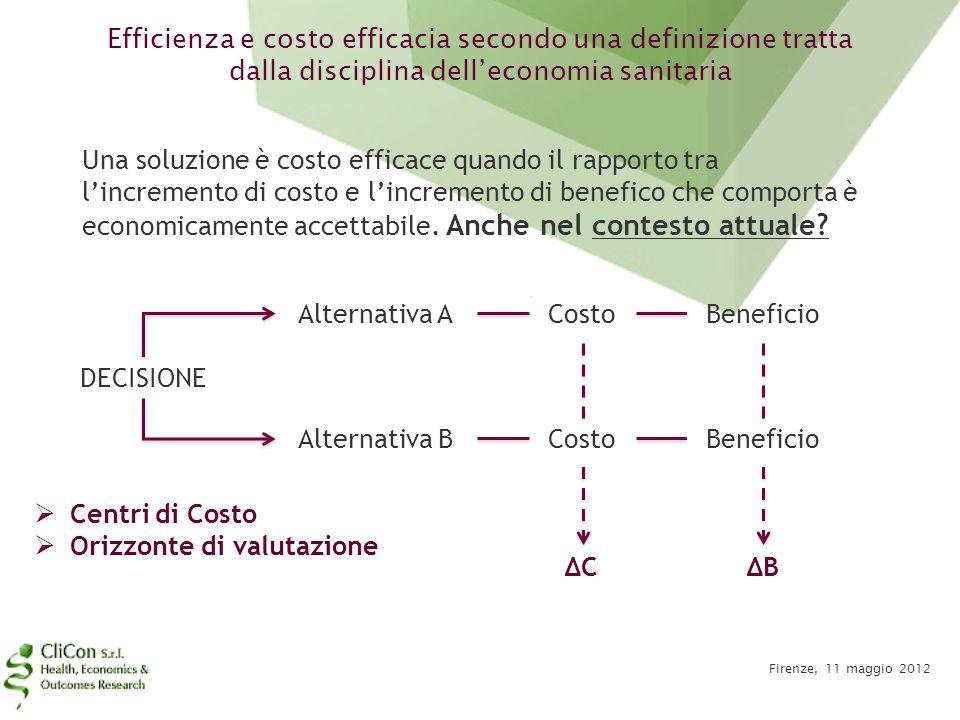 Efficienza e costo efficacia secondo una definizione tratta dalla disciplina dell'economia sanitaria Firenze, 11 maggio 2012 Una soluzione è costo eff