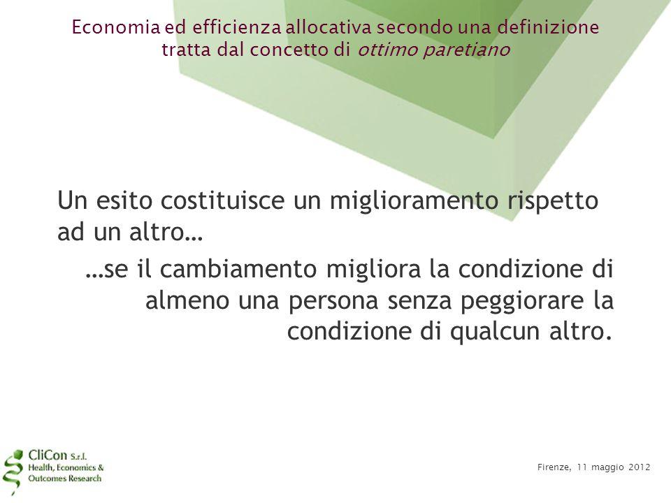 Economia ed efficienza allocativa secondo una definizione tratta dal concetto di ottimo paretiano Firenze, 11 maggio 2012 Un esito costituisce un migl