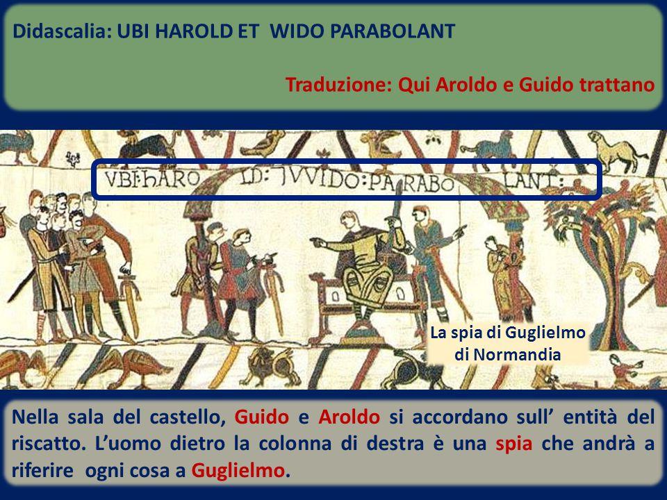 Nella sala del castello, Guido e Aroldo si accordano sull' entità del riscatto. L'uomo dietro la colonna di destra è una spia che andrà a riferire ogn