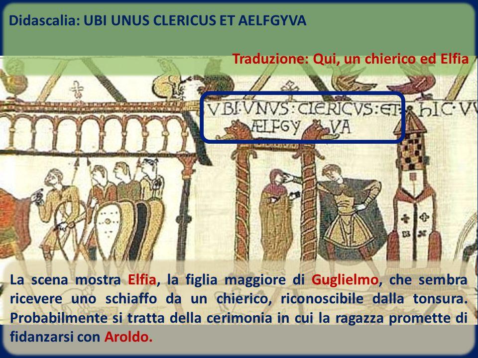 La scena mostra Elfia, la figlia maggiore di Guglielmo, che sembra ricevere uno schiaffo da un chierico, riconoscibile dalla tonsura. Probabilmente si