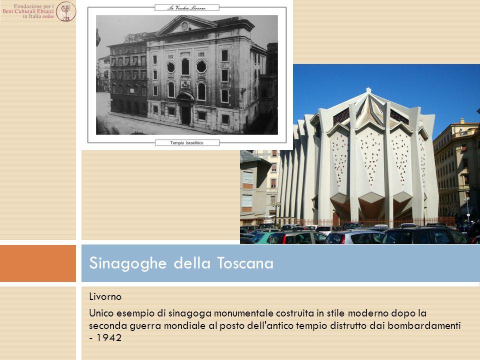 Livorno Unico esempio di sinagoga monumentale costruita in stile moderno dopo la seconda guerra mondiale al posto dell'antico tempio distrutto dai bom