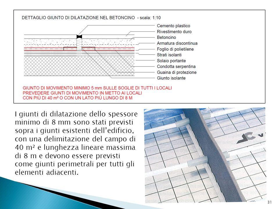 I giunti di dilatazione dello spessore minimo di 8 mm sono stati previsti sopra i giunti esistenti dell'edificio, con una delimitazione del campo di 4