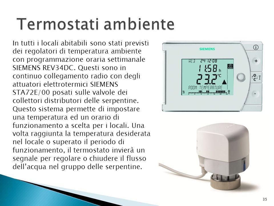 In tutti i locali abitabili sono stati previsti dei regolatori di temperatura ambiente con programmazione oraria settimanale SIEMENS REV34DC. Questi s
