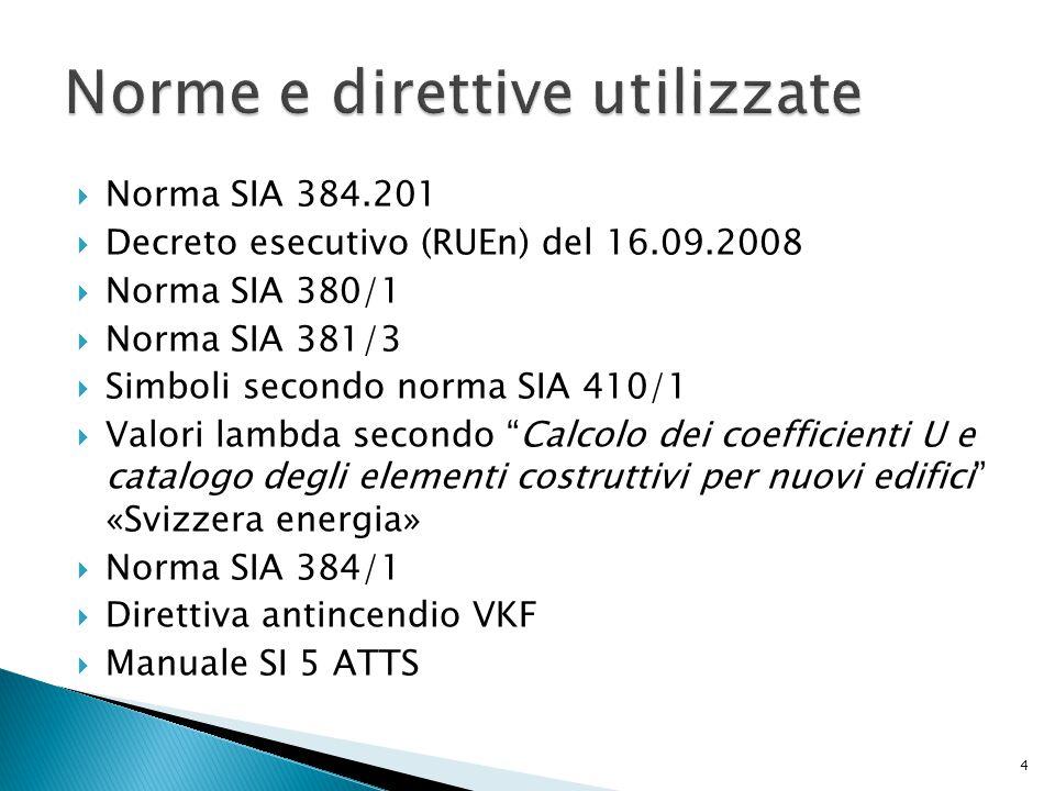  Norma SIA 384.201  Decreto esecutivo (RUEn) del 16.09.2008  Norma SIA 380/1  Norma SIA 381/3  Simboli secondo norma SIA 410/1  Valori lambda se