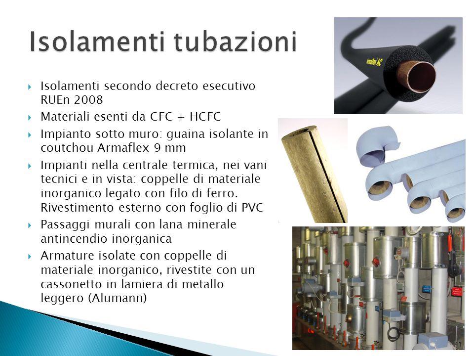  Isolamenti secondo decreto esecutivo RUEn 2008  Materiali esenti da CFC + HCFC  Impianto sotto muro: guaina isolante in coutchou Armaflex 9 mm  I