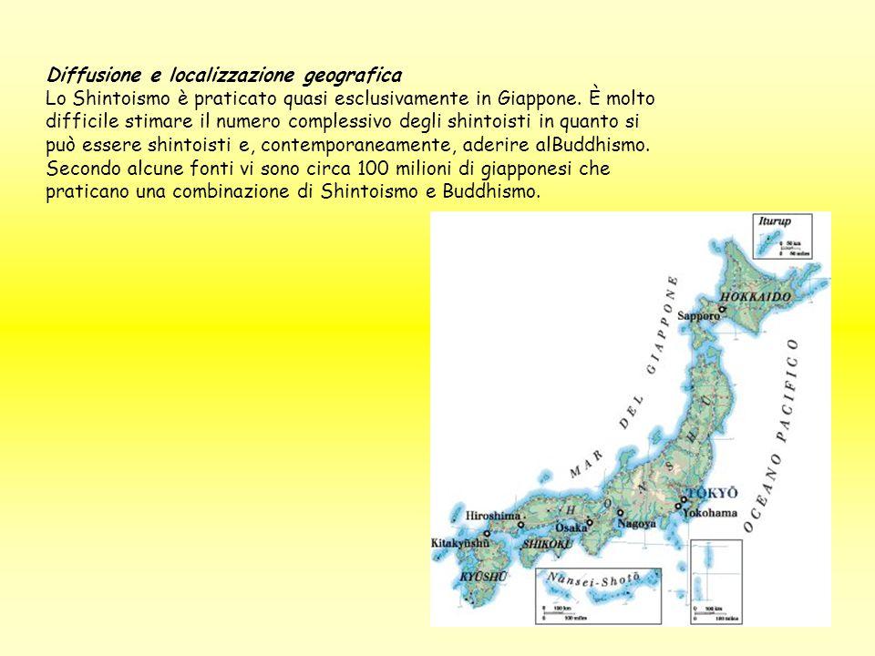 Diffusione e localizzazione geografica Lo Shintoismo è praticato quasi esclusivamente in Giappone. È molto difficile stimare il numero complessivo deg