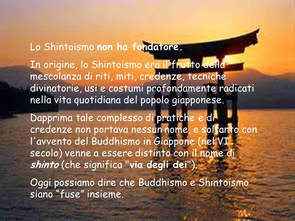 Testi sacri Sebbene lo Shintoismo non abbia dei veri e propri testi sacri, vi sono alcuni libri che raccolgono i miti e le tradizioni religiose del popolo giapponese: tra questi, i principali sono il Kojiki ( Memorie degli avvenimenti dell antichità ), e il Nihon shoki ( Annali del Giappone ), scritti nell VIII secolo, in cui si trova la storia del Giappone dalla sua creazione - per opera della coppia divina, Izanagi (maschio) e Izanami (femmina) - all anno 697.