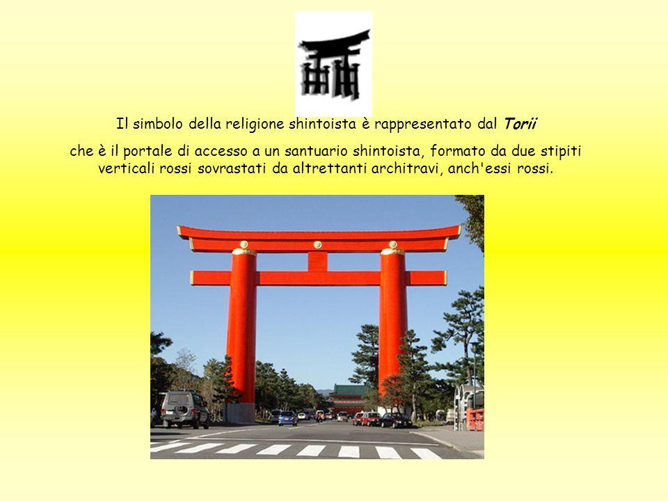 Il simbolo della religione shintoista è rappresentato dal Torii che è il portale di accesso a un santuario shintoista, formato da due stipiti vertical