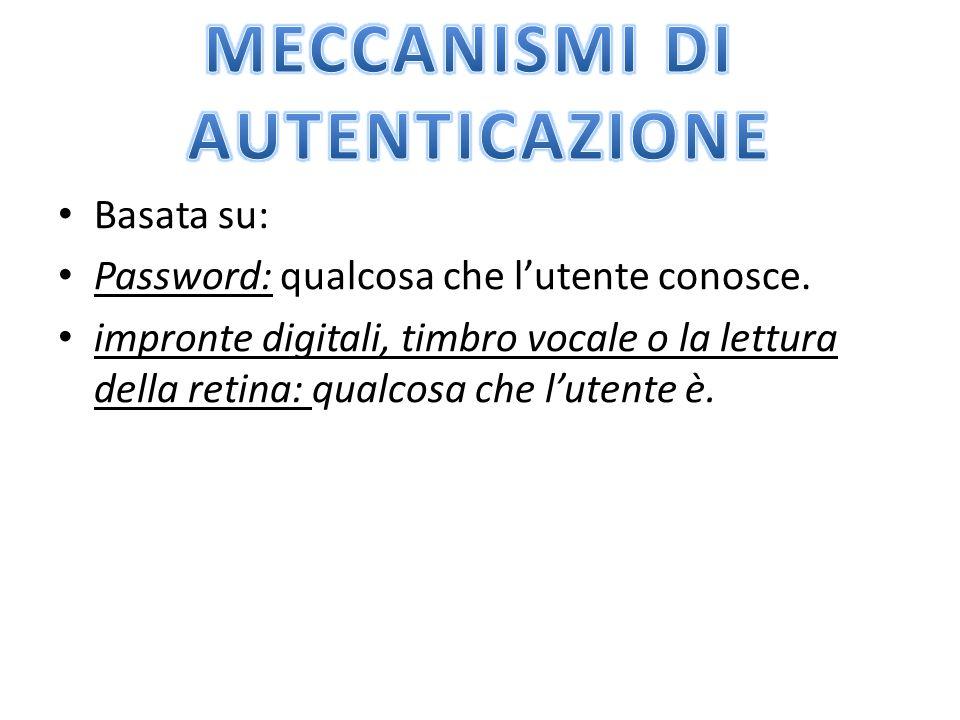 Basata su: Password: qualcosa che l'utente conosce.