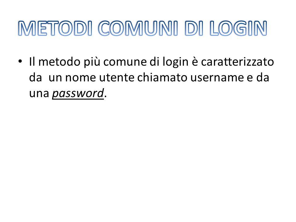 Il metodo più comune di login è caratterizzato da un nome utente chiamato username e da una password.
