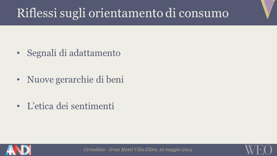 Cernobbio - Gran Hotel Villa d'Este, 10 maggio 2014 Segnali di adattamento Nuove gerarchie di beni L'etica dei sentimenti Riflessi sugli orientamento di consumo
