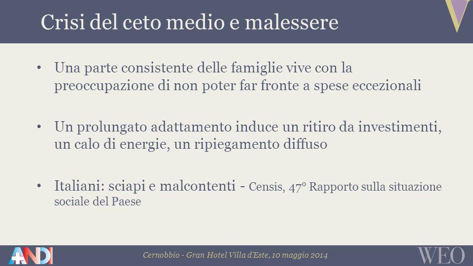 Cernobbio - Gran Hotel Villa d'Este, 10 maggio 2014 Consumatore che cerca di ricomporre le contraddizioni usa i sacchetti per la raccolta differenziata fuma le sigarette elettroniche