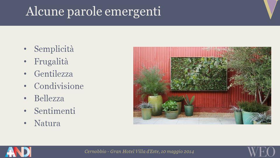 Cernobbio - Gran Hotel Villa d'Este, 10 maggio 2014 Semplicità Frugalità Gentilezza Condivisione Bellezza Sentimenti Natura Alcune parole emergenti