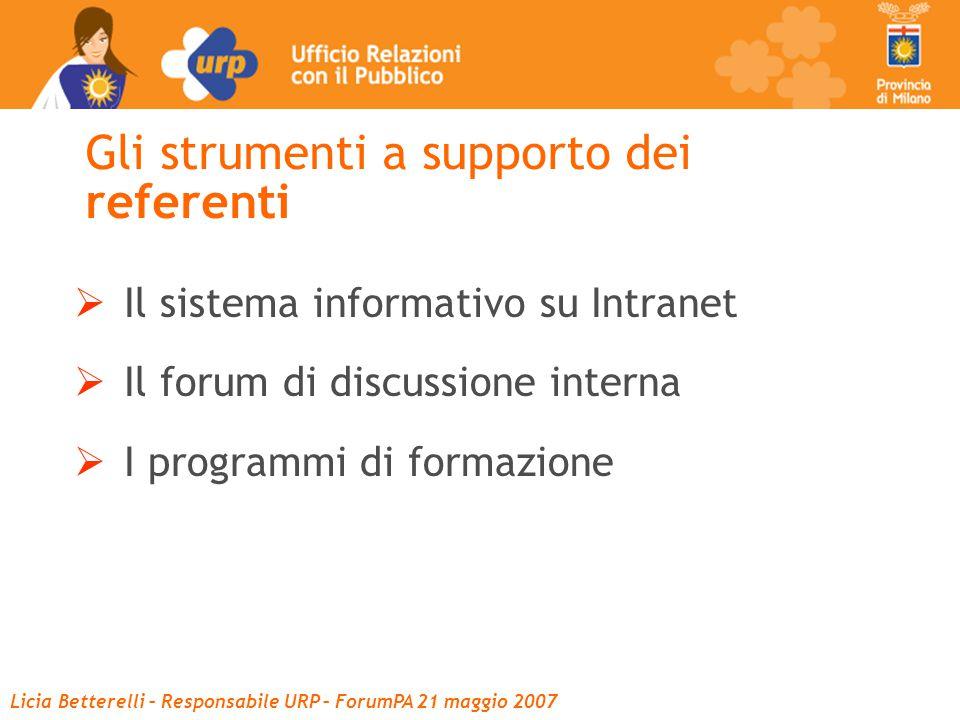 Licia Betterelli – Responsabile URP – ForumPA 21 maggio 2007 Gli strumenti a supporto dei referenti  Il sistema informativo su Intranet  Il forum di discussione interna  I programmi di formazione