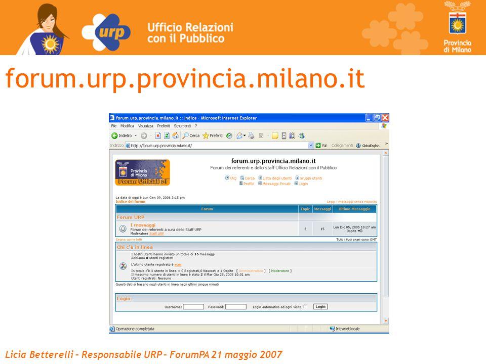 Licia Betterelli – Responsabile URP – ForumPA 21 maggio 2007 forum.urp.provincia.milano.it