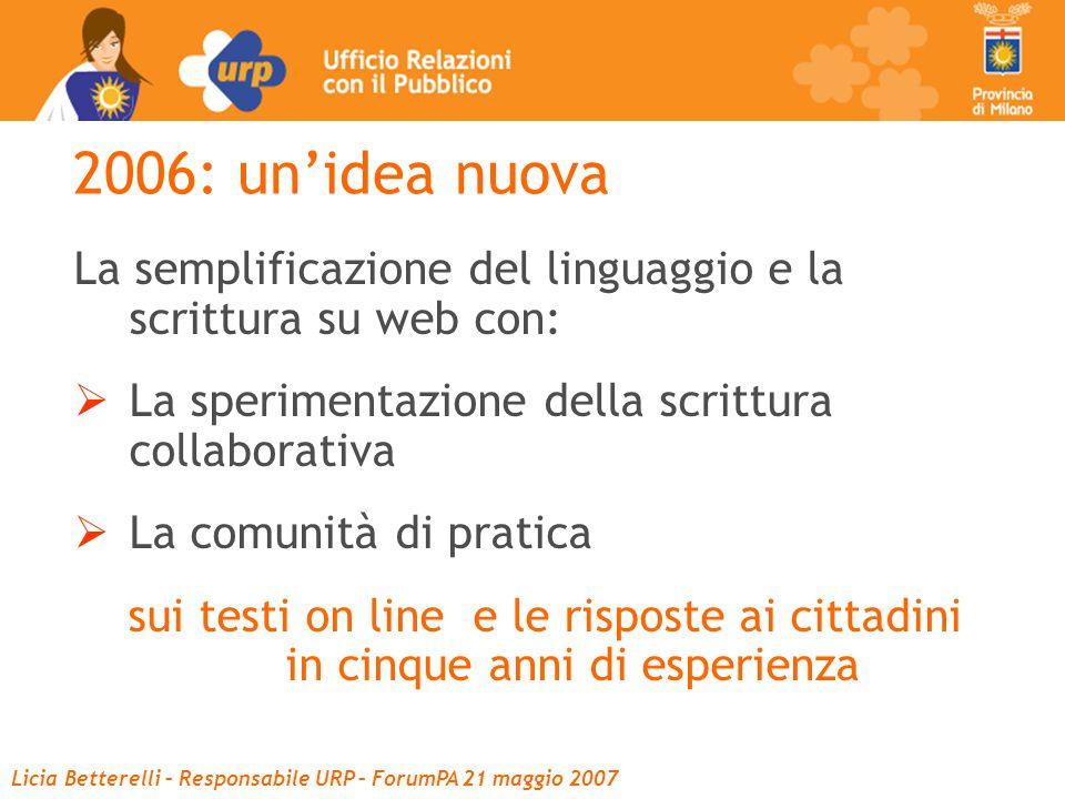 Licia Betterelli – Responsabile URP – ForumPA 21 maggio 2007 2006: un'idea nuova La semplificazione del linguaggio e la scrittura su web con:  La sperimentazione della scrittura collaborativa  La comunità di pratica sui testi on line e le risposte ai cittadini in cinque anni di esperienza