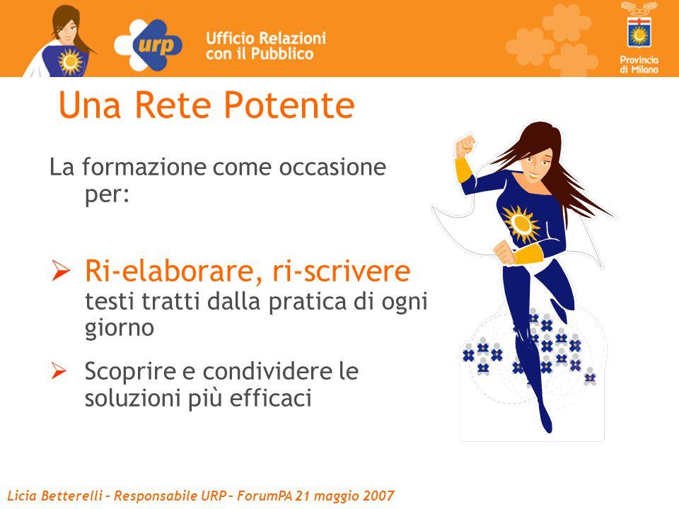 Licia Betterelli – Responsabile URP – ForumPA 21 maggio 2007 Una Rete Potente La formazione come occasione per:  Ri-elaborare, ri-scrivere testi tratti dalla pratica di ogni giorno  Scoprire e condividere le soluzioni più efficaci