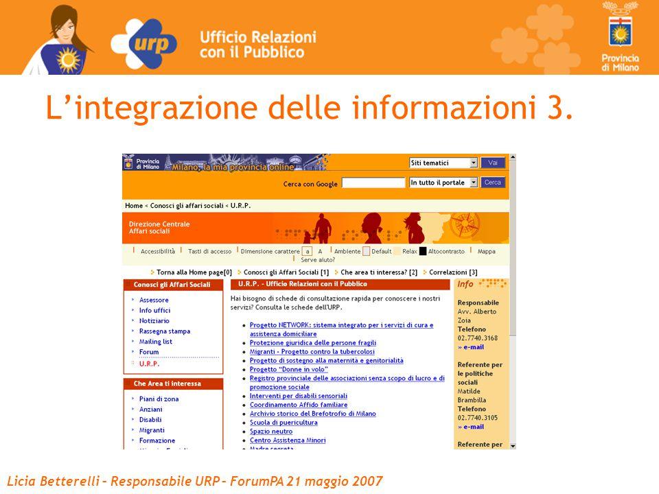Licia Betterelli – Responsabile URP – ForumPA 21 maggio 2007 L'integrazione delle informazioni 3.