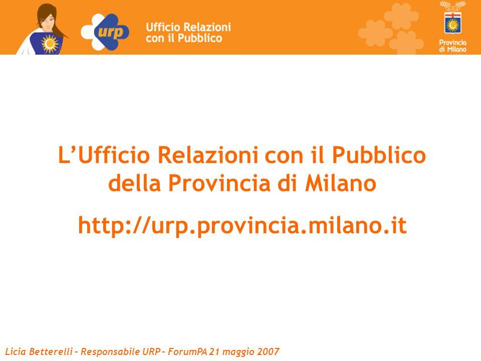 Licia Betterelli – Responsabile URP – ForumPA 21 maggio 2007 L'Ufficio Relazioni con il Pubblico della Provincia di Milano http://urp.provincia.milano.it