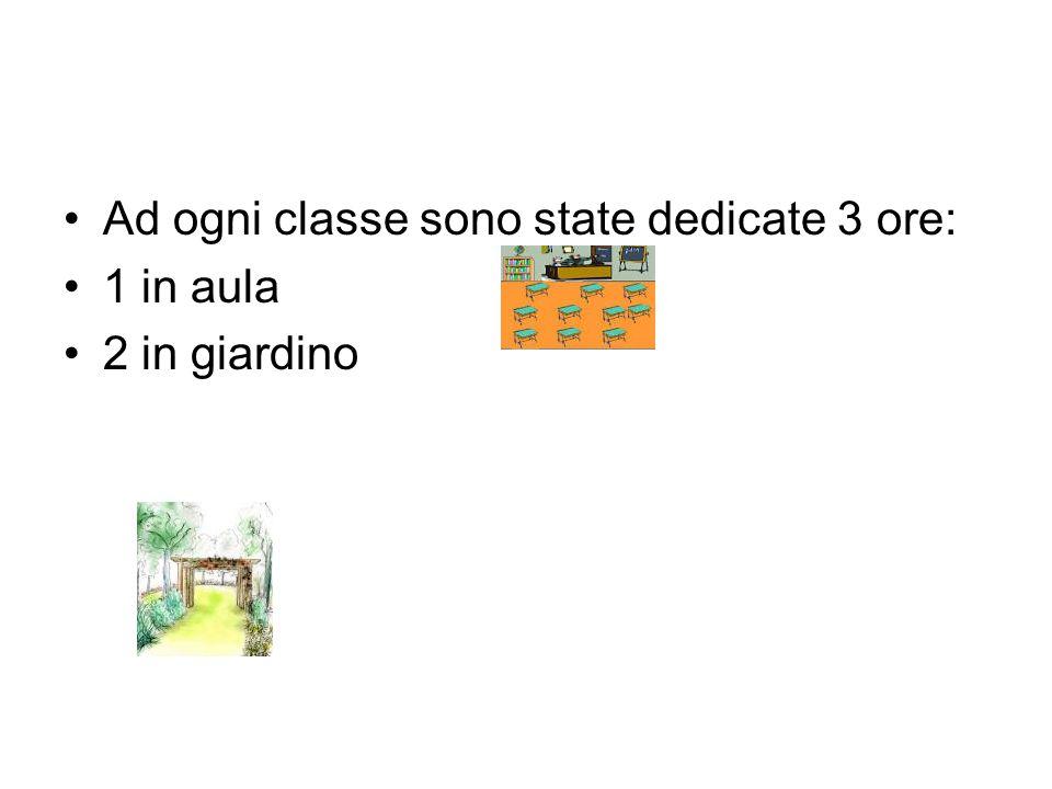 Ad ogni classe sono state dedicate 3 ore: 1 in aula 2 in giardino