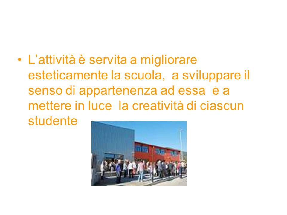 L'attività è servita a migliorare esteticamente la scuola, a sviluppare il senso di appartenenza ad essa e a mettere in luce la creatività di ciascun studente